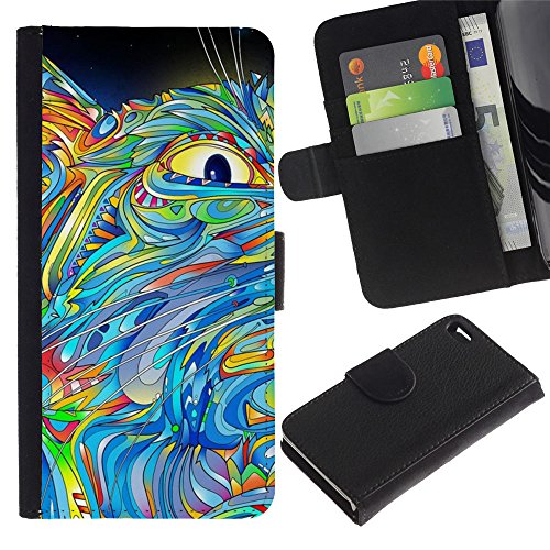 OMEGA Case / Apple Iphone 4 / 4S / eye abstract painting cat colorful blue / Cuir PU Portefeuille Coverture Shell Armure Coque Coq Cas Etui Housse Case Cover Wallet Credit Card