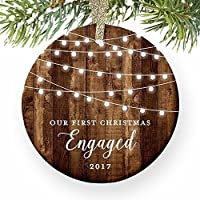 """Engagement Keepsake Gifts 2017, First Christmas Engaged Ornament, Rustic Newly Engaged Couple 1st Xmas Farmhouse Collectible Woodgrain Present 3"""" Flat Circle Porcelain w/ Gold Ribbon & Free Gift Box"""