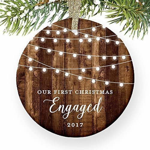 Engagement Keepsake Gifts 2017, First Christmas Engaged Ornament, Rustic Newly Engaged Couple 1st Xmas Farmhouse Collectible Woodgrain Present 3