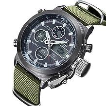 Men Quartz Analog Digital Military Wrist Watch Canvas Fabric Straps LED Sport Watches (Black Case)