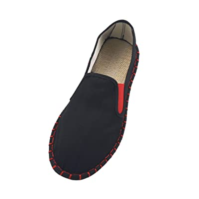 LS_JWZ Old Beijing Shoes Embroidered Shoes Kung Fu Tai Chi Shoes Sports Shoes Men and Women Martial Arts Foot Protection Equipment Black | Loafers & Slip-Ons