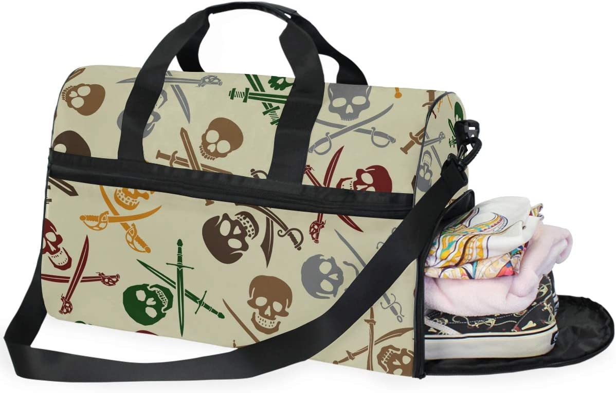 Skulls Military Sports Gym Bag with Shoes Compartment Travel Duffel Bag for Men and Women