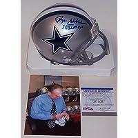 $269 » Roger Staubach Autographed Hand Signed Dallas Cowboys Mini Football Helmet - with SB VI MVP Inscription - PSA/DNA