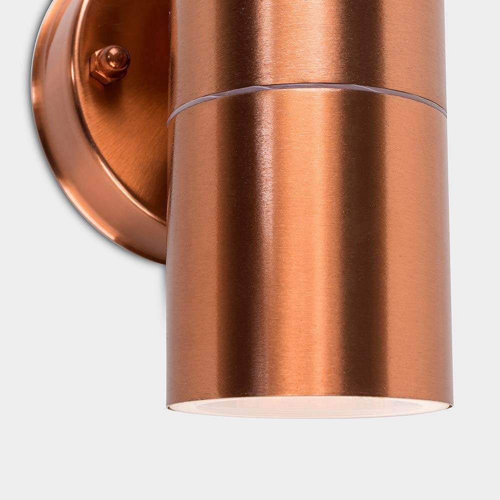 2 x GU10 LED Maximum 7 watts Acier Inoxydable Lumi/ère en Deux Sens Design Contemporain en Haut et en Bas Pour la S/écurit/é ou le Confort Int/érieur ou Ext/érieur non-fournis IP44 MiniSun Applique Mural
