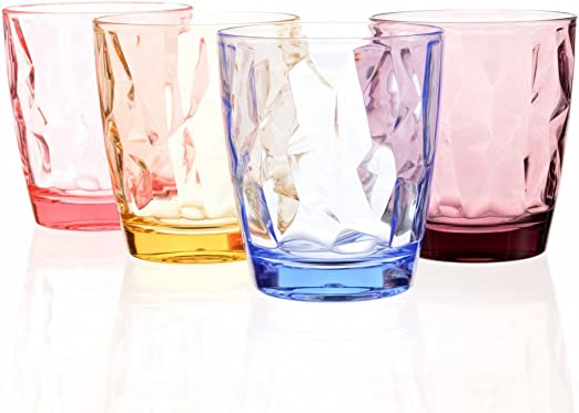 Amazon Com 11 Oz Acrylic Drinking Glasses Set Colored Plastic Tumblers Unbreakable Small Water Drinking Cups For Kids Cute Juice Glassware Stackable Camping Picnic Beach Party Drinkware Bpa Free Dishwasher Safe Kitchen