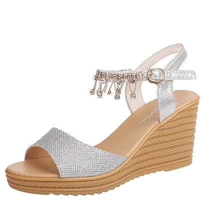 0427ed81ed316 High Heels Wedge Sandals Slipper Women Platform Shoes Buckle Peep-Toe  Wedges Shoes (US:7.5, Silver)
