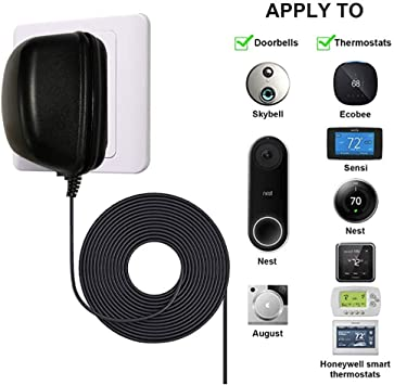 Compatible with Ecobee Nest and Honeywell Smart WiFi Thermostat Ring Nest Hello Skybell August Doorbell 24 Volt Transformer White C Wire Adapter Thermostats