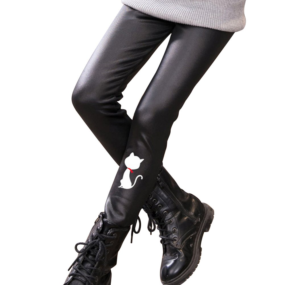 OULII Kids Winter Warm Faux leather Leggings Seamless Stretchy Skinny Pants for Girls 120CM (White Cat) J90316M144ZKIR