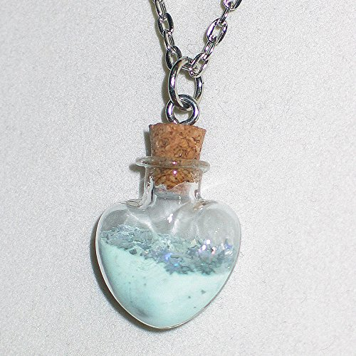 Glow in the Dark Heart Shaped glass bottle with stars - Necklace