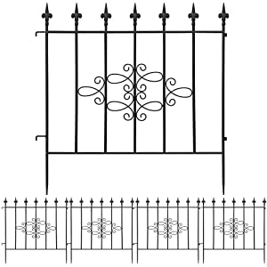 Amagabeli Decorative Garden Fence 27in x 11ft Outdoor Coated Rustproof Metal Garden Fencing Panel Animal Barrier Iron Folding Edge Wire Border Fence Ornamental for Patio Landscape Vegetable Flower Bed