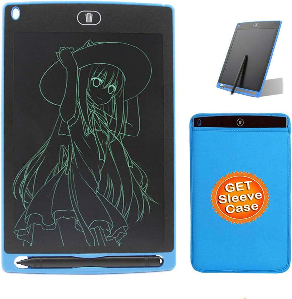 Blue Neoprene Sleeve Bag Gift Black Greatlong 8.5 Inch LCD Writing Tablet Doodle Pads for Kids, Electronic Writing Drawing Board for Adults,Digital Handwriting Notes Use for School Home and Office