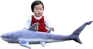 "JESONN Realistic Giant Stuffed Marine Animals Toys Soft Plush Great Shark,33.5"" or 85CM,1PC"