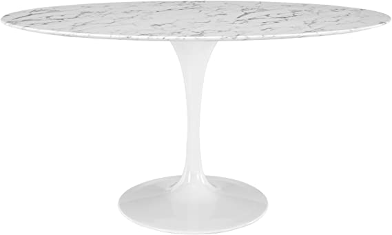 Modway Lippa 60 Oval Shaped Mid Century Modern Dining Table With Artificial Marble Top And White Base Tables
