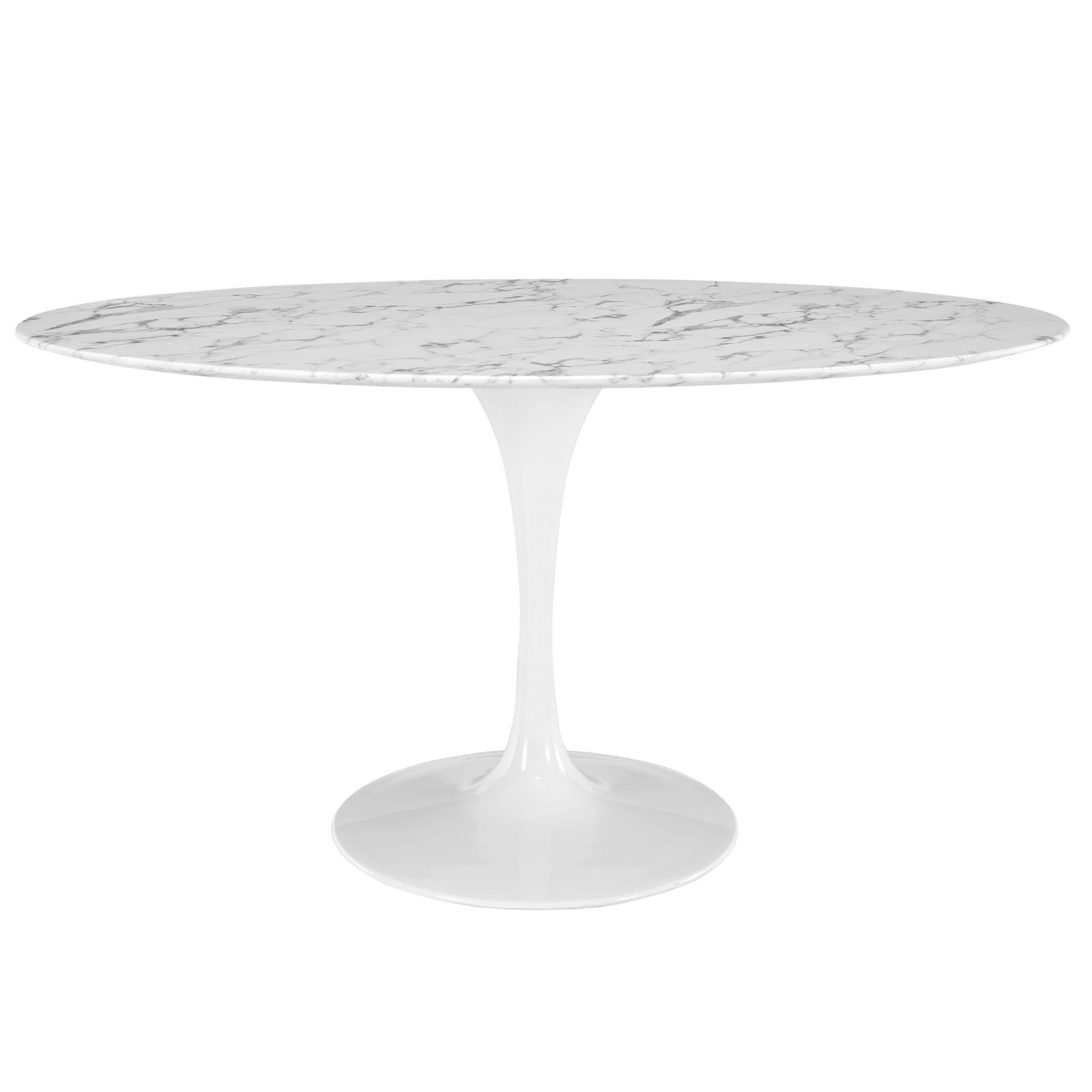 Modway Lippa 60'' Oval-Shaped Artificial Marble Dining Table in White