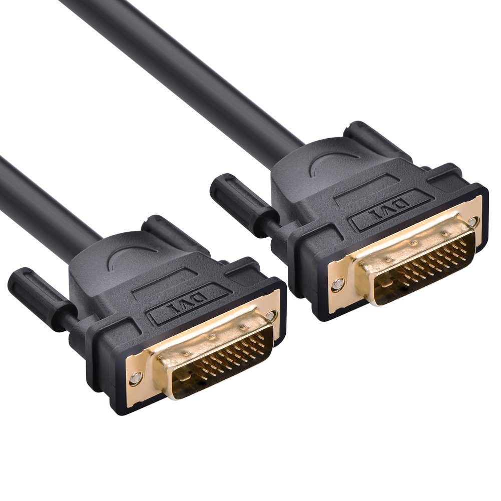 UGREEN DVI-D 24+1 Dual Link Male to Male Digital Video Cable Gold Plated with Ferrite Core Support 2560x1600 for Gaming, DVD, Laptop, HDTV and Projector(6FT)