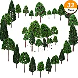 Bememo 33 Pieces Model Trees 1.18 - 6.29 inch/ 3 - 16 cm Mixed Model Tree Train Trees Railroad Scenery Diorama Tree Architecture Trees for DIY Scenery Landscape, Natural Green