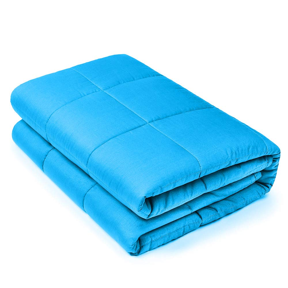 Viki Premium Blue Weighted Blanket (48''x78'', 15lbs for 140 - 160lbs individual) for Girls, Boys, Adults | Help Reduce Stress and Anxiety, Great for Anxiety, Autism, and Sensory Processing Disorder