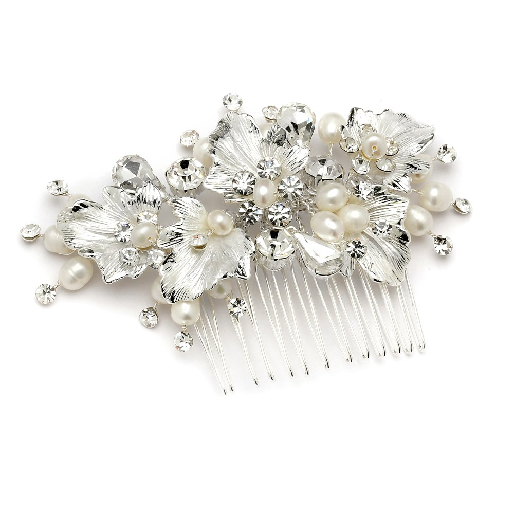 Mariell Couture Bridal Hair Comb with Hand Painted Silver Leaves, Freshwater Pearls and Crystals by Mariell