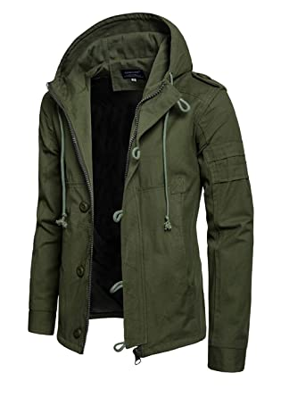 Hakjay Mens Casual Military Jackets Fall Tactical Coats Zip Up Hoodie Army  Green 82d4a6f3f