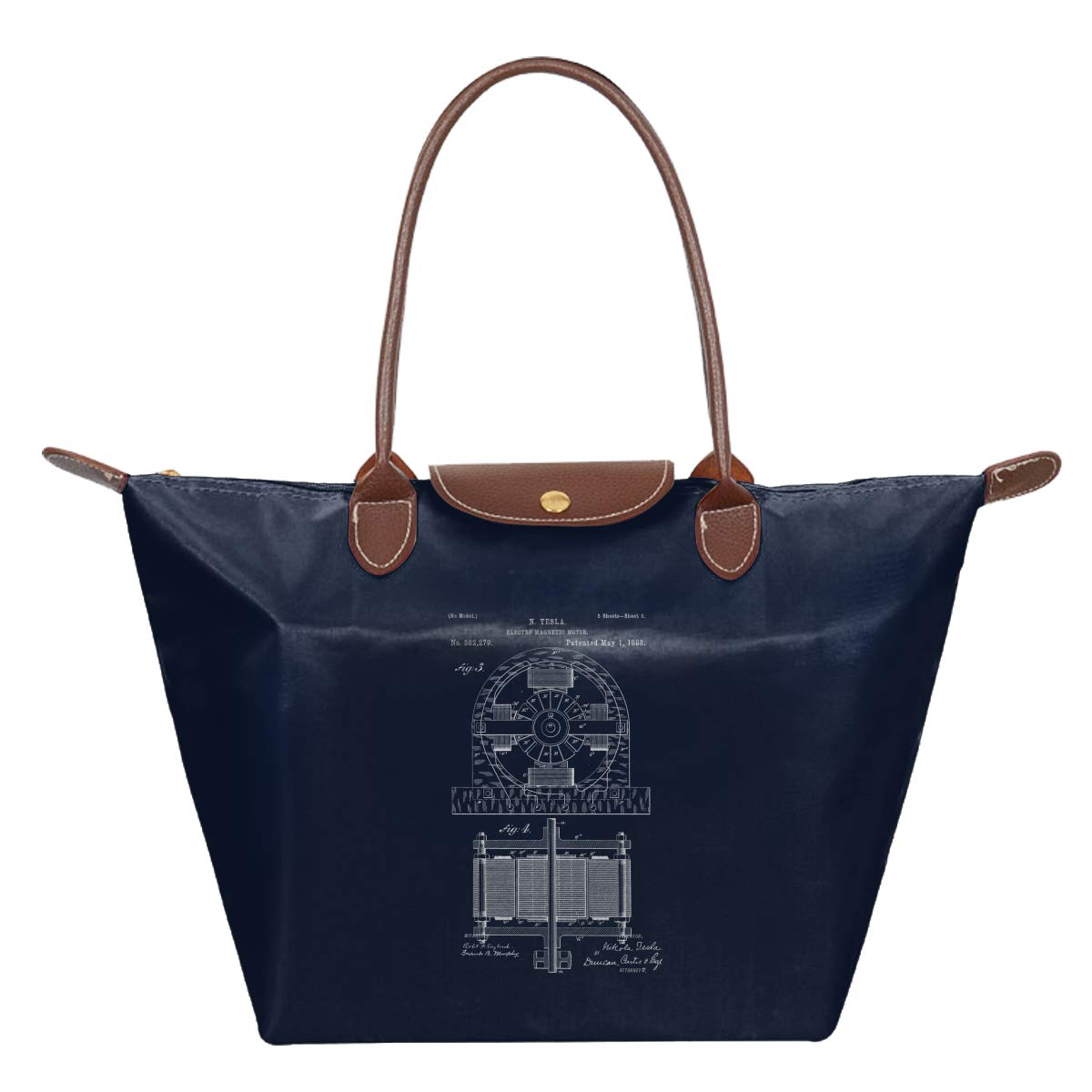 Nicola Tesla 1 Waterproof Leather Folded Messenger Nylon Bag Travel Tote Hopping Folding School Handbags
