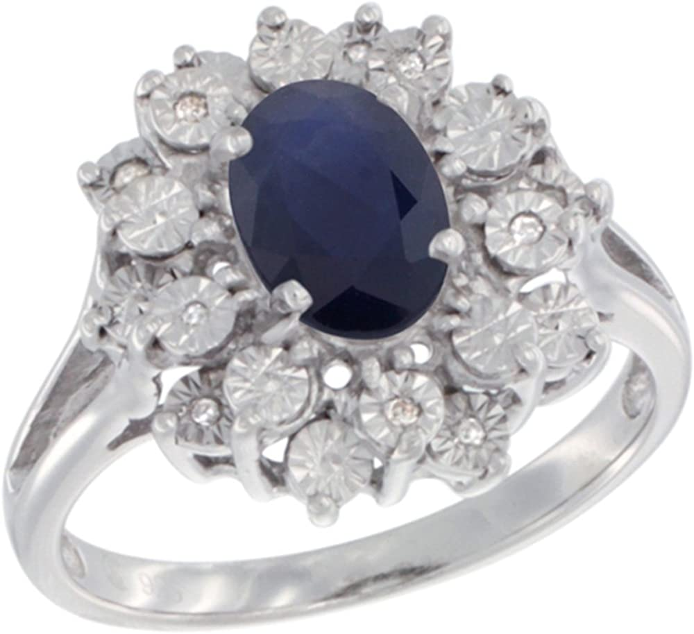 Details about  /Sterling Silver Oval Sapphire And Diamond Ring