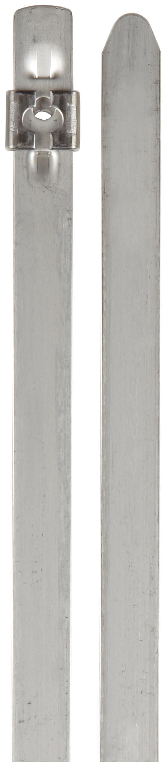 BAND-IT AS6229 Tie-Lok 304 Stainless Steel Cable Tie, 3/8'' Width, 11.5'' Length, 2'' Maximum Diameter, 100 per Bag