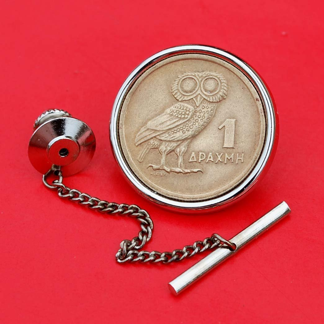 New 1973 Greece 1 Drachma Athenas Owl /& Phoenix Coin Coin Silver Plated Tie Tac Tack
