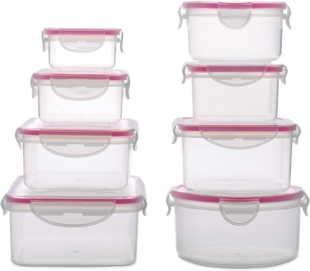 WonderVeg Plastic Food Containers with Lids - 16 Piece, BPA Free, Locking Lids, Dishwasher Safe Freezer Safe, Airtight - Ideal for Home, Kitchen, Storage & Organization