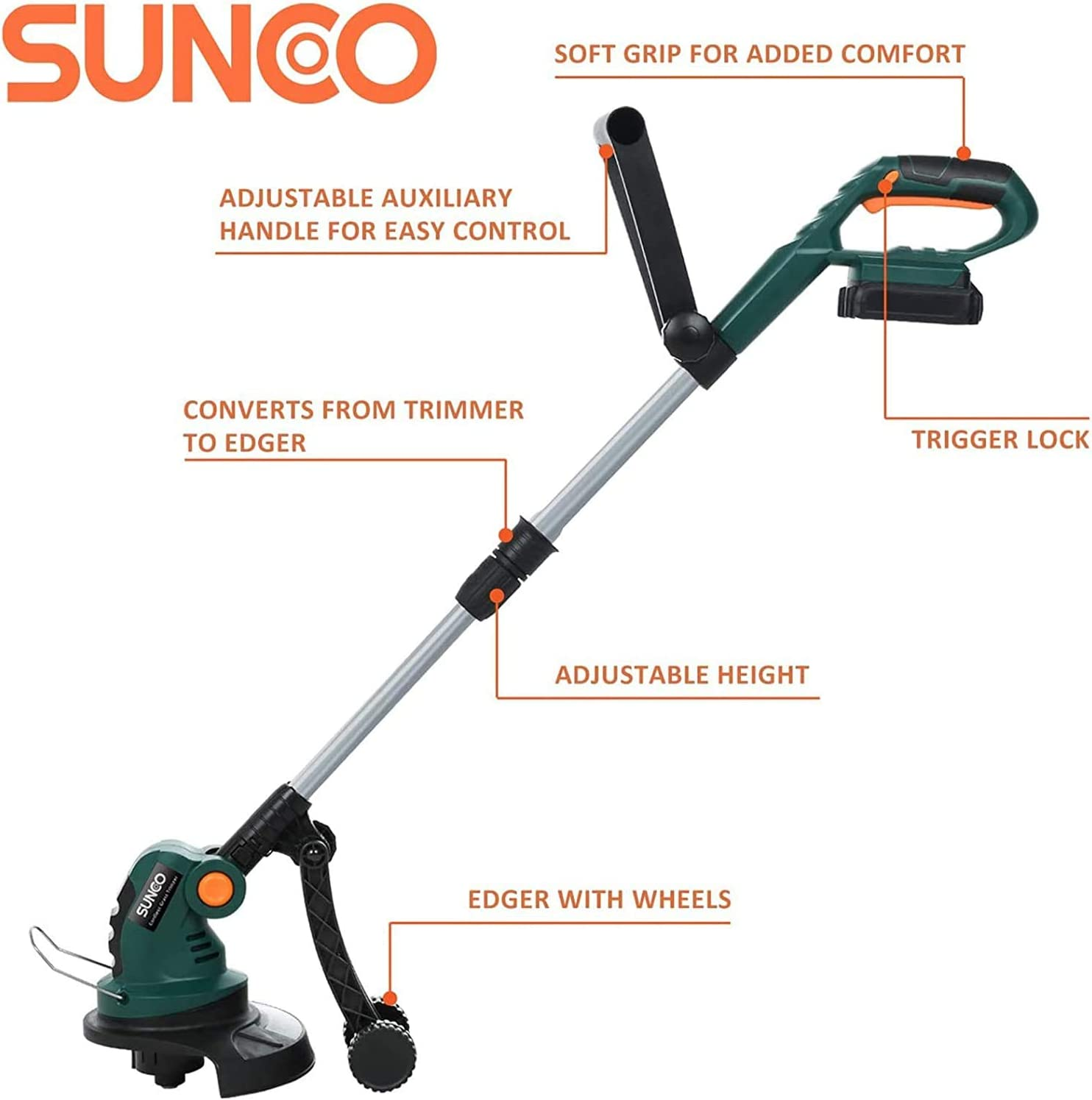 Battery Powered 2-in-1 Convertible Auto Feed Strimmer w//Battery /& Charger SUNCOO 9.4-Inch Cordless String Trimmer Edger 20V Height Adjustable Electric Lawn Grass Trimmers Edgers