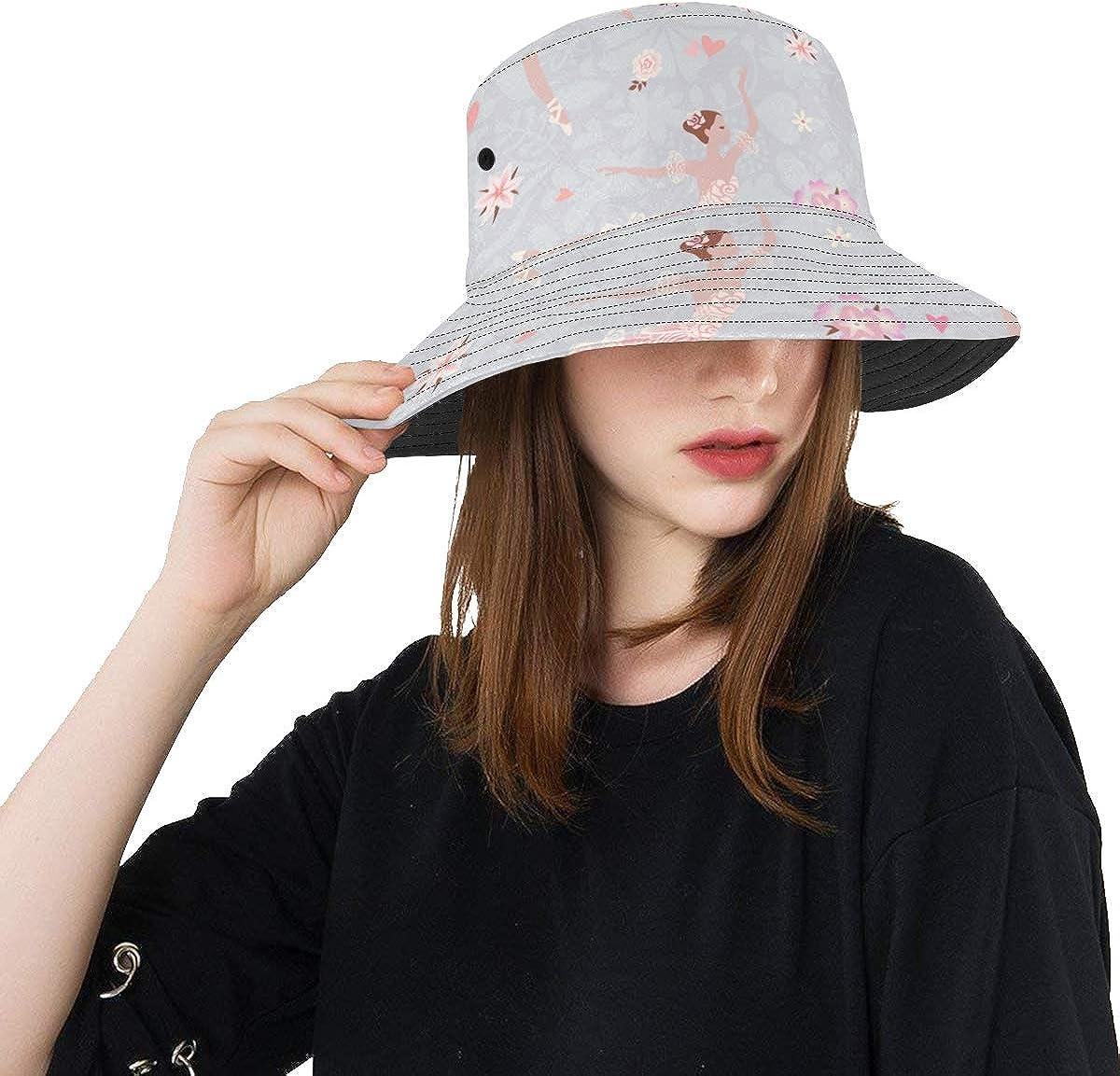 Ballet Ballerina Girl Summer Unisex Fishing Sun Top Bucket Hats for Kid Teens Women and Men with Packable Fisherman Cap for Outdoor Baseball Sport Picnic