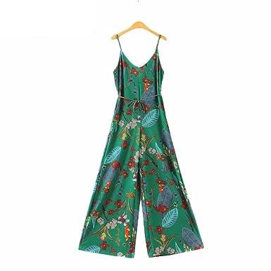 4b2da4688b6 Amazon.com  Vadim women sexy V neck vintage floral jumpsuit KZ992  Clothing