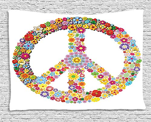 Happiness Collection Peace Sign - Groovy Decorations Collection, Floral Peace Sign Summer Spring Blooms Love Happiness Themed Illustration Print, Bedroom Living Room Dorm Wall Hanging Tapestry, 80 X 60 Inches, Multi