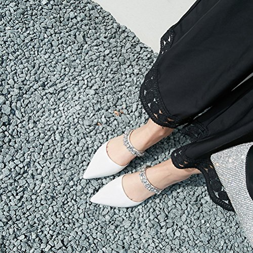 amp; Evening Club Summer Party Heel Shoes Sandals Dress for B Women's Chunky Rhinestone Leather Shoes t7qwExPg