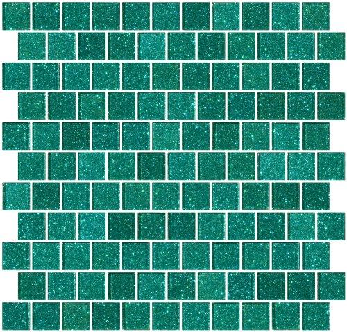 Susan Jablon Mosaics - 1 Inch Aqua Green Glitter Glass Tile Reset In Offset Layout