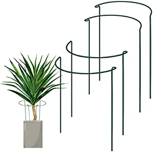 """SISIPAI LIFE Plant Support Stake, 4 Pack Half Round Green Plant Supports for The Garden, Plant Cage, Plant Support Ring for Tomato, Roses, Hydrangea, Flowers Vine (9.5"""" Wide x 15.7"""" High)"""