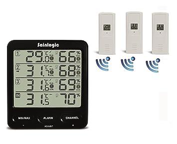 sainlogic (R) Estaciones meteorológica Estación meteorológica, termómetro higrómetro digital con 3 interior/exterior 8 canales exterior Sensor de humedad, ...