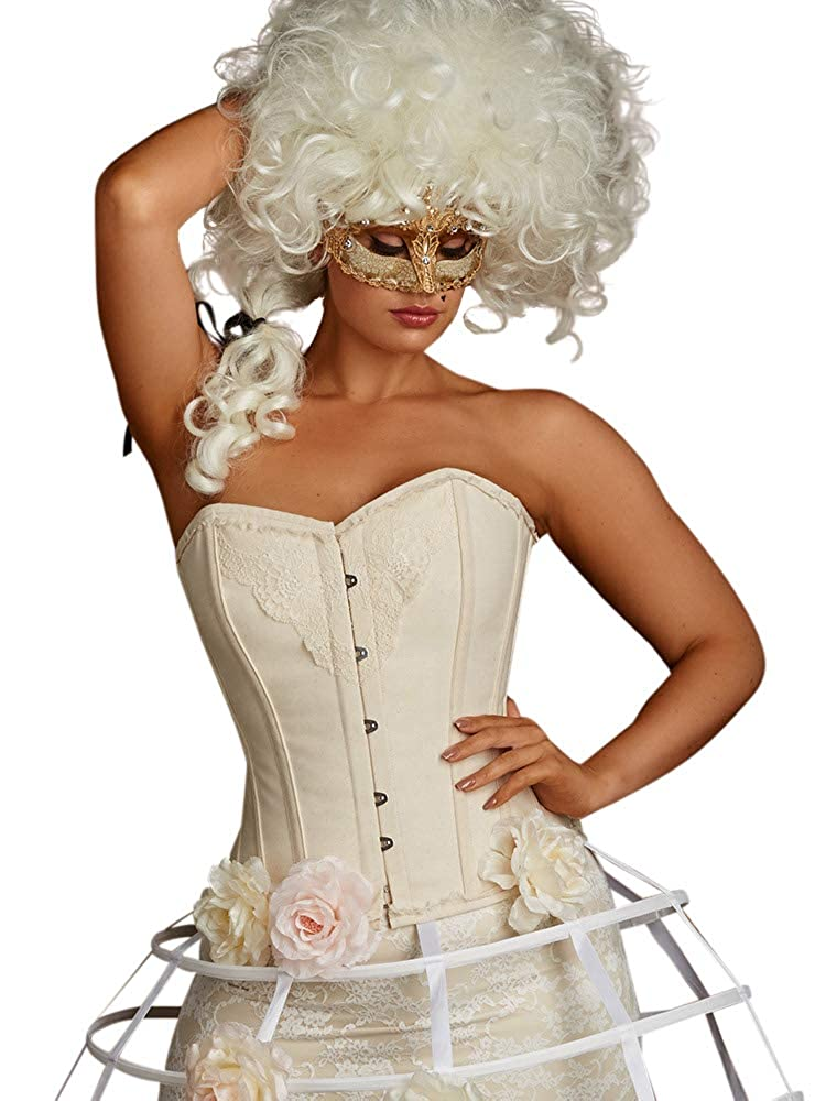 Playgirl Plus Size Lilith Vintage Lace and Cotton Steel Boned Overbust Corset