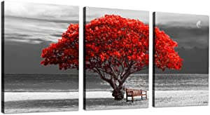"""3Piece Canvas Wall Art for living room -panoramic black and white with red trees The scenery Landscape - Simple Modern Home Decor The room Stretched and Framed Ready to Hang - 12""""x16""""x3 Panels"""