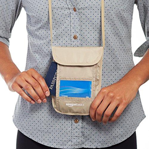 AmazonBasics RFID Travel Neck Stash Wallet, Khaki
