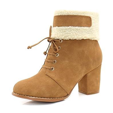 Women's Plush Lace Up Decor Ankle Boots