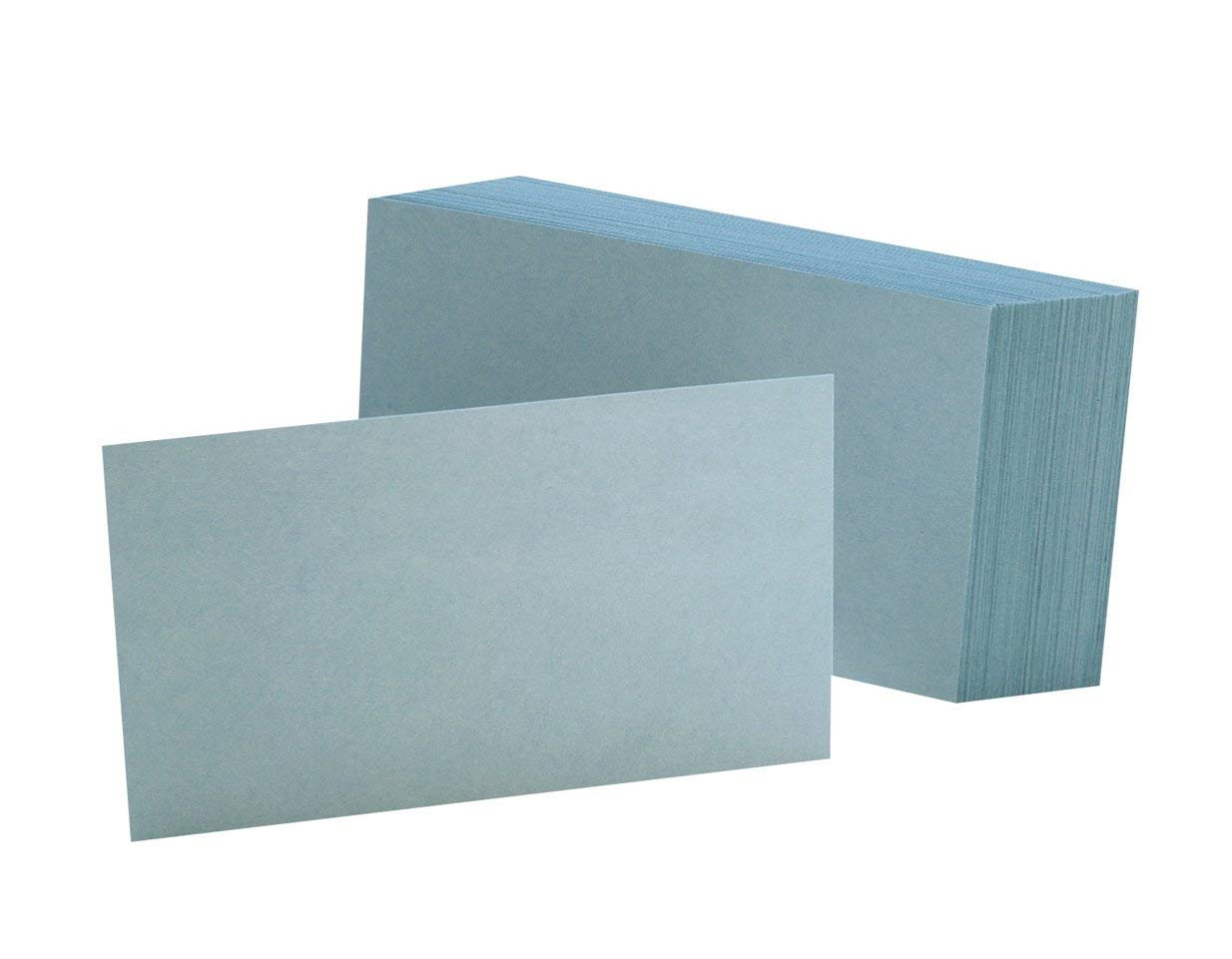 Oxford Blank Color Index Cards, 3'' x 5'', Blue, 100 Per Pack (7320 BLU), 10 PACK