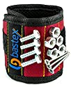 Bastex Magnetic Wristband With Strong Magnets for Holding Screws, Nails, Bolts, Drill bits, and Other Small Metal Tools. The Best helping hand. (Red)