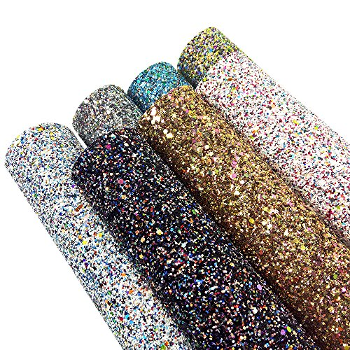 David accessories Super Shiny Chunky Glitter Stereoscopic Sequins Faux Leather Sheets Fabric 7 Pcs 8