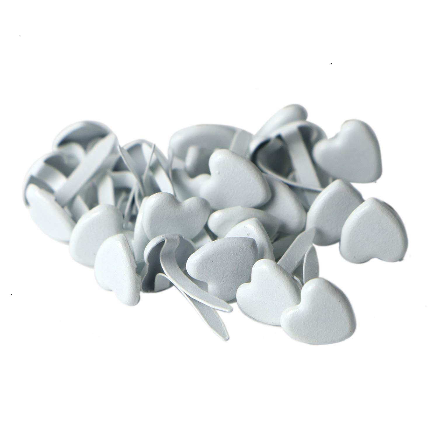 Monrocco 100pcs Metal Paper Fasteners White Hearts Metal Brad Craft Scrapbooking Card 9x8mm.