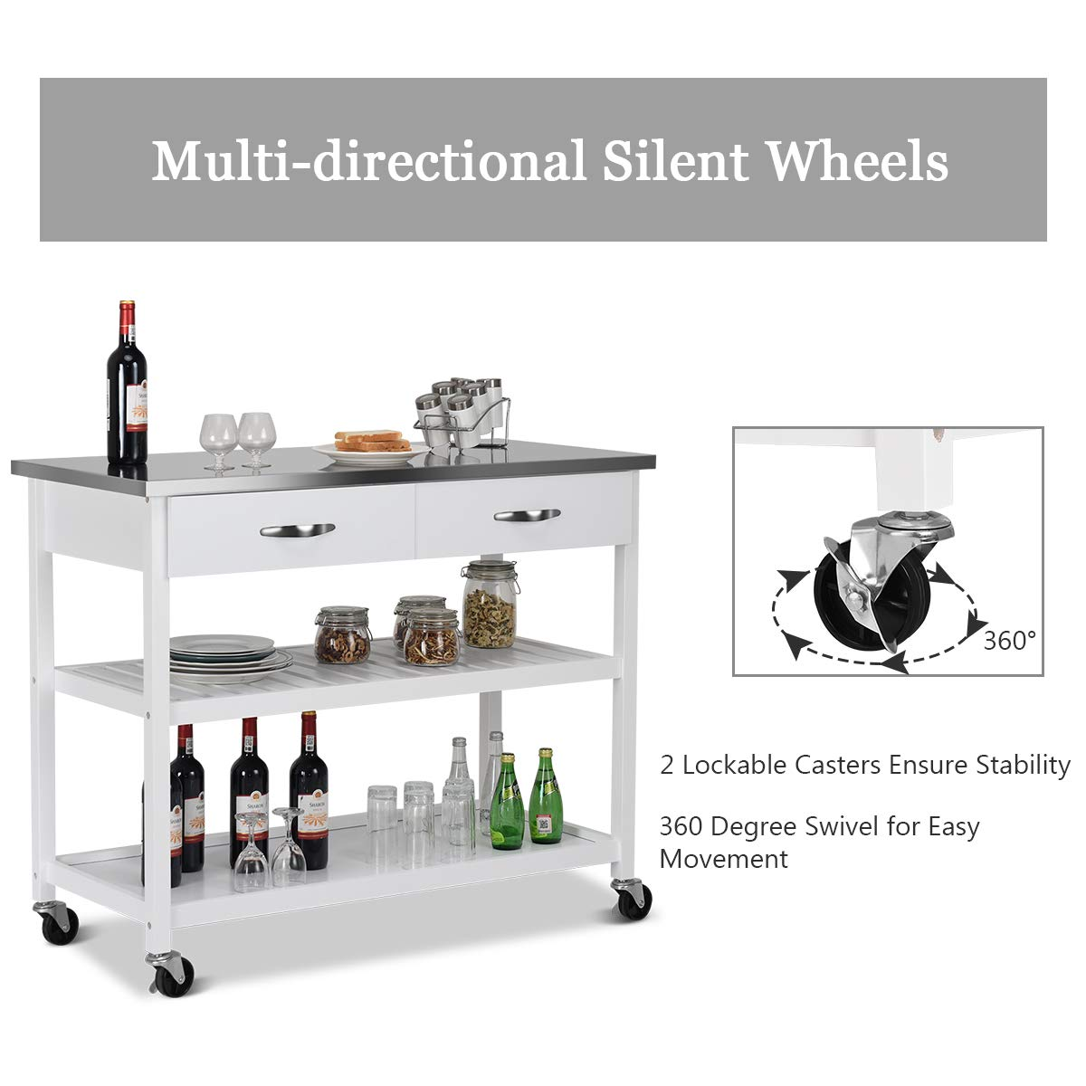 Giantex Kitchen Trolley Cart Rolling Island Cart Serving Cart Large Storage with Stainless Steel Countertop, Lockable Wheels, 2 Drawers and Shelf Utility Cart for Home and Restaurant, (White) by Giantex (Image #6)