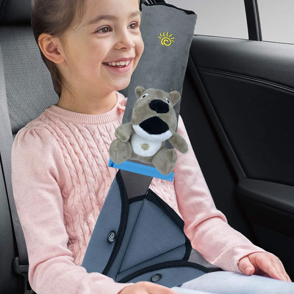 Seat Belt Adjuster and Pillow with Plush Toys for Kids Travel,Soft Neck Support Headrest Seatbelt Pillow Cover & Seatbelt Adjuster for Child,Car Seat Strap Cushion Pads for Baby And Short Adult(Dog-G) by mönch