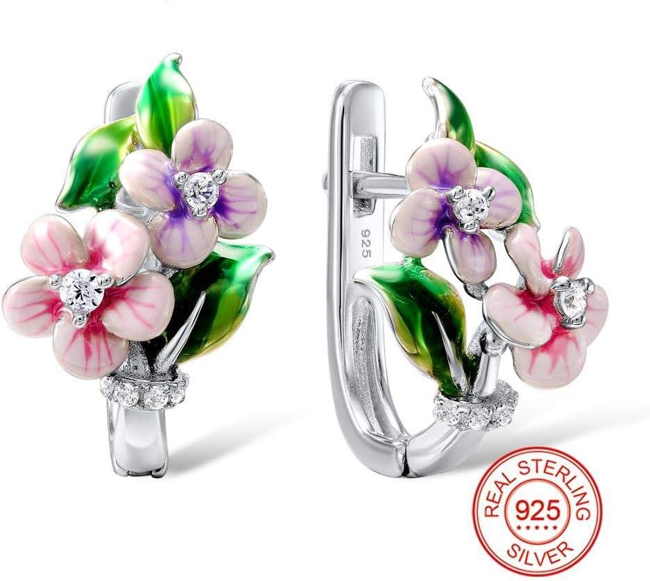 N/N Aretes Mujer Plata Pendientes De Flores Rosadas para Mujeres 925 Pendientes De Plata Plata Brillante Cubic Zirconia Joyas Esmalte