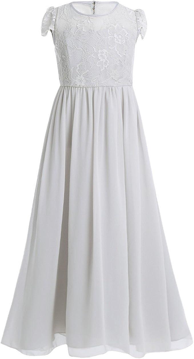 iiniim Mädchen Kleid Festlich Kleid Langes Prinzessin Kleid Hochzeit  Brautjungfernkleid Chiffon Blumenmädchenkleider Party Abendkleid Gr.15-15