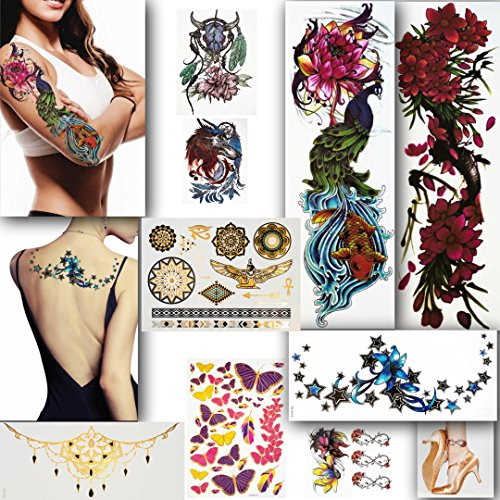 LuneSong Large Temporary Tattoos - Series #1 - 10 Temporary Tattoo Sheets - Large Full Arm Sleeve Tattoo-Metallic & Realistic - For Women, For Men & For Kids Full Tattoo