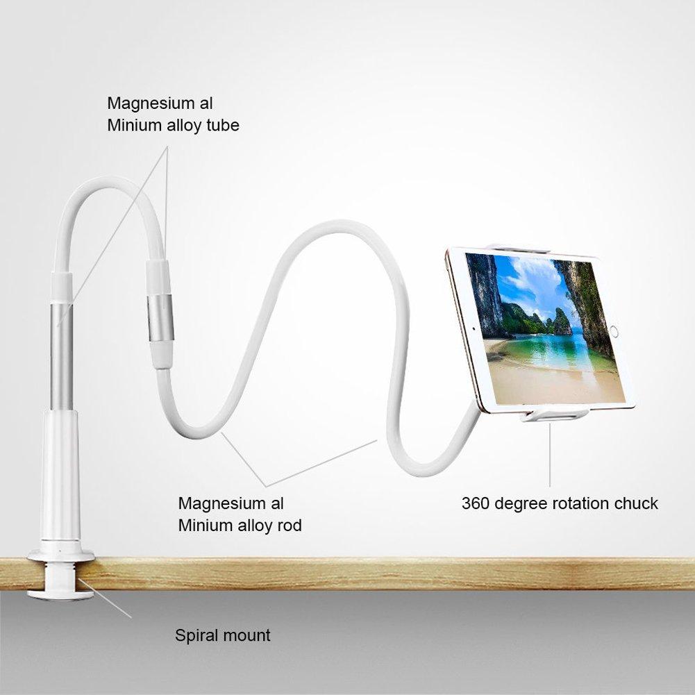 universal soporte de grapa 360//º ajustable Notens soporte plateado tablet iPad Soporte para tel/éfono m/óvil cuello de cisne